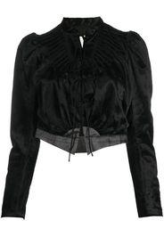 velvet front-tie jacket