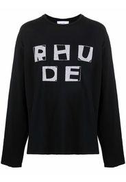 Rhude logo-print long-sleeved T-shirt - Nero