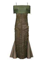 ruched off-shoulder midi dress