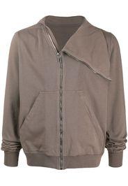 flap neck zipped sweatshirt