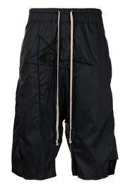 Rick Owens X Champion logo embroidered drop-crotch shorts - Nero