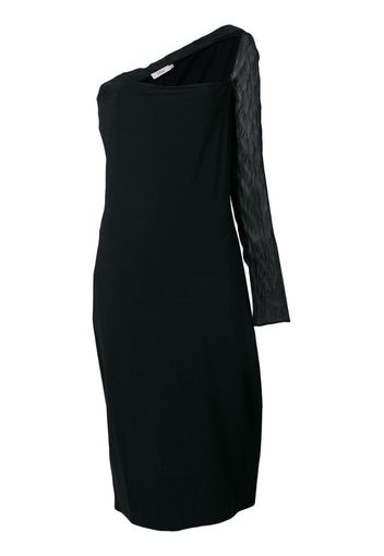 sheer single sleeve dress