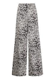 Rosetta Getty foliage-print poplin palazzo trousers - Nero