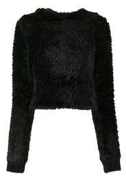 RtA fluffy-texture hoodie - Nero