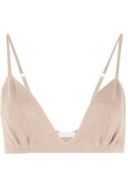 SABLYN ribbed-knit bralette cropped top - Marrone