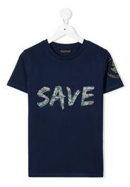 Save The Duck Kids camouflage slogan print T-shirt - Blu