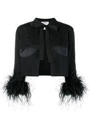 cropped feather-embellished jacket