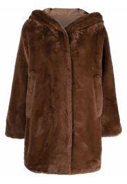 Seventy reversible faux-fur hooded coat - Marrone