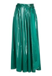 belted long A-line skirt