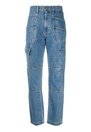 Jeans skinny a vita alta con pannelli a contrasto