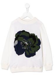 long sleeve knitted flower jumper