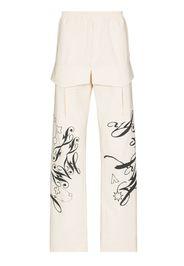 Layered printed straight leg trousers