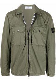 Stone Island logo-patch zip-up shirt jacket - Verde