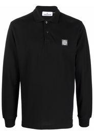 Stone Island logo-patch long-sleeve polo shirt - Nero