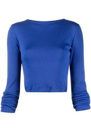 Styland organic cotton long-sleeved cropped t-shirt - Blu