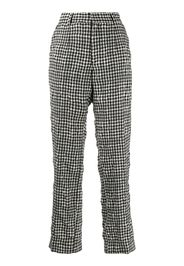checked high waisted trousers