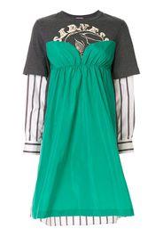 panelled long-sleeved dress