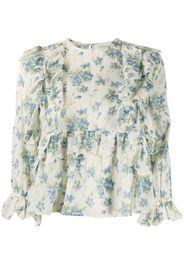 floral-print ruffled-trim blouse