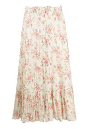 The Great. tiered floral high-rise skirt - Bianco
