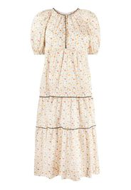 The Great. The Whipstitched floral-print dress - Toni neutri