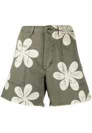 The Great. floral-print high-waisted shorts - Verde