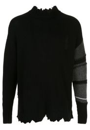 distressed contrast sleeve jumper