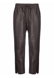 Theory slit-cuffs lambskin trousers - Marrone