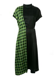 check-print contrast dress