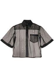 flared sleeve sheer shirt
