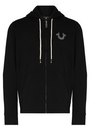 True Religion logo print zip-up hoodie - Nero