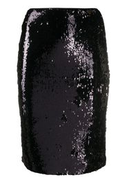 sequin-embroidered fitted skirt