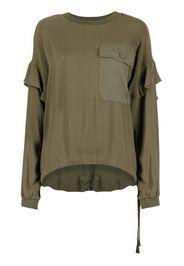 Twin-Set long-sleeved ruffled T-shirt - Verde
