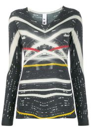 printed fine knit top