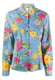 long sleeve floral print denim shirt