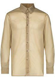 semi-sheer button-up shirt