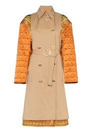 quilted sleeve baroque trench coat