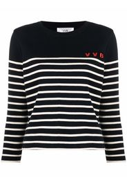 Victoria Victoria Beckham logo-embroidered striped jumper - Blu