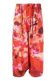 floral drawstring cropped trousers