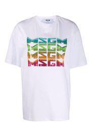 T-shirt con logo paillettes