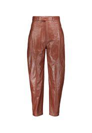 Pantaloni a vita alta in pelle