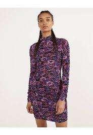 Vestito corto con stampa floreale con arricciatura