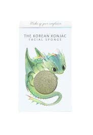The Konjac Sponge Company Mythical Dragon spugna konjac con scatola e gancetto - drago - argilla verde 30 g