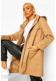 Pocket Detail Faux Fur Trim Parka, Beige