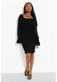 Petite Volume Sleeve Shirred Dress, Nero