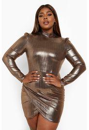 Vestito a incrocio Plus Size metallizzato con maniche a sbuffo, Metallics
