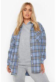 Plus Oversized Checked Shirt, Azzurro