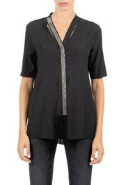 Camicia Nera In Seta Con Cravattino Monile Colore Grigio