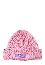 Cappello Rosa In Misto Lana Con Applicazione Logo Frontale
