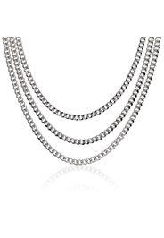 Collana mutlifilo in argento placcato platino