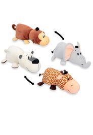 2 peluche reversibili: orso/giraffa e elefante/scimmia
